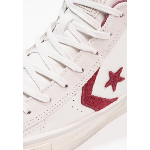 Damen / Herren Converse PRO LEATHER VULC MID LEATHER DISTRESSED - Trainingsschuhe Low - Segel Weiß/Dunkel Rot