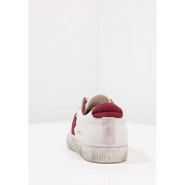 Damen / Herren Converse PRO LEATHER VULC OX LEATHER DISTRESSED - Schuhe Low - Segel Weiß/Dunkelrot/Gelb