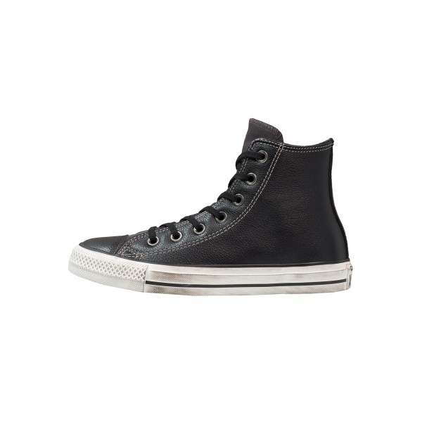 Damen / Herren Converse CHUCK TAYLOR ALL STAR HI LEATHER/SUEDE DISTRESSED - Freizeitschuhe Hoch - Obsidian Schwarz/Metallic Gold