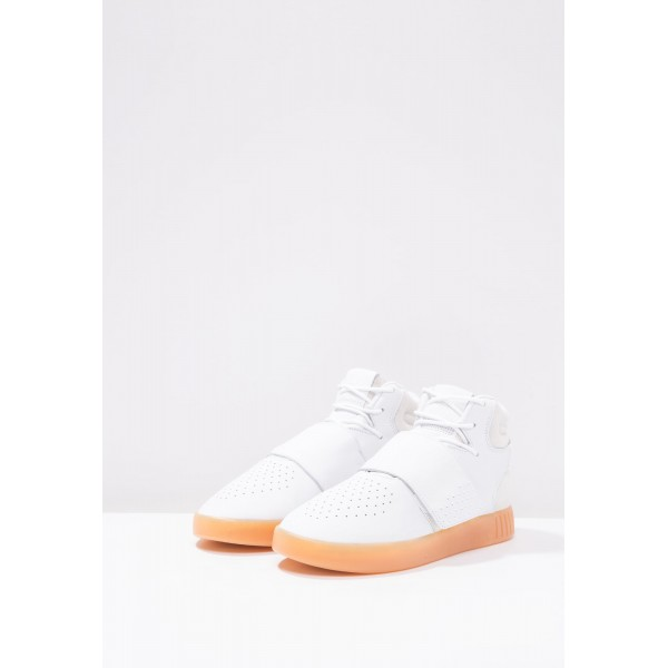 Damen / Herren Adidas Originals TUBULAR INVADER STRAP - Laufschuhe Hoch - Weiß/Hellgrau/Orange