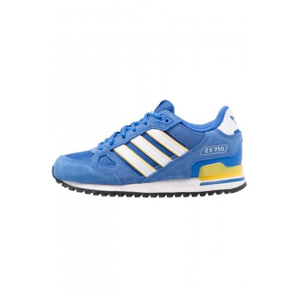 Damen / Herren Adidas Originals ZX 750 - Trainingsschuhe Low - Dodger Blau/Weiß/Footwear Weiß/Gelb
